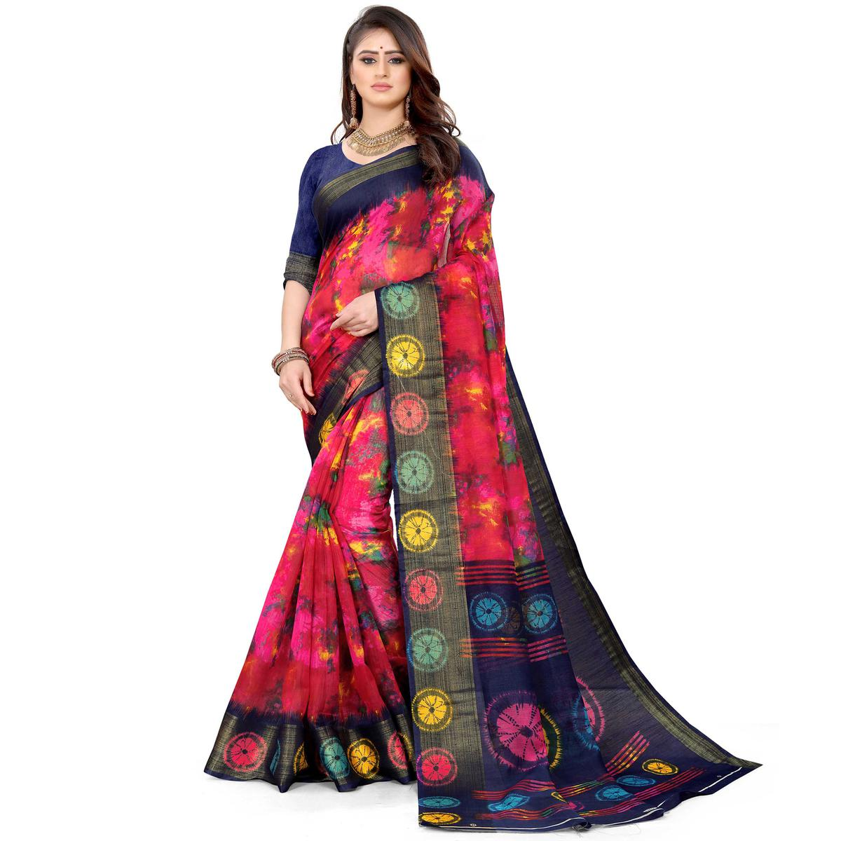 Pink Casual Wear Abstract Printed Cotton Linen Saree