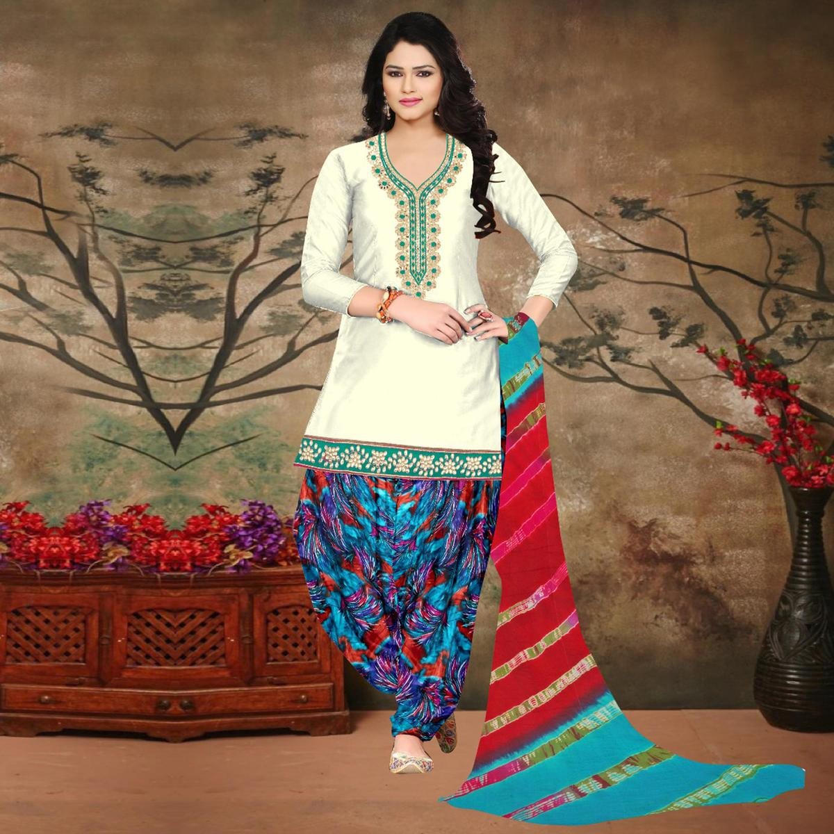 Off White-Blue Colored Embroidered Partywear Salwar Suit
