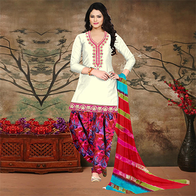 Off White-Pink Colored Embroidered Partywear Salwar Suit
