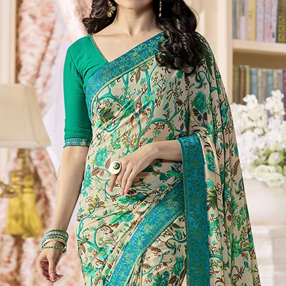 Cream - Green Georgette Printed Saree