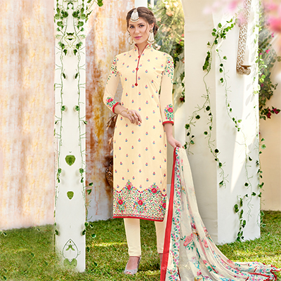 Classy Cream Designer Embroidered Georgette Suit