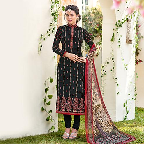 Arresting Black Designer Embroidered Georgette Suit