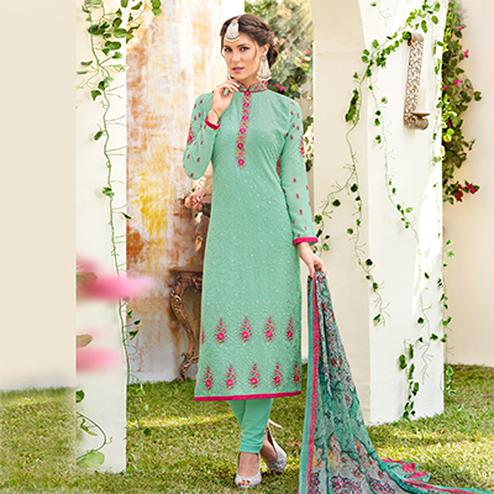 Cool Cyan Designer Embroidered Georgette Suit
