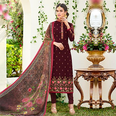 Beautiful Brown Designer Embroidered Georgette Suit