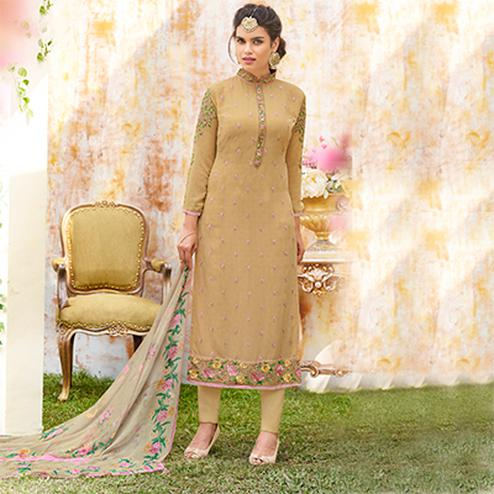 Lovely Beige Designer Embroidered Georgette Suit