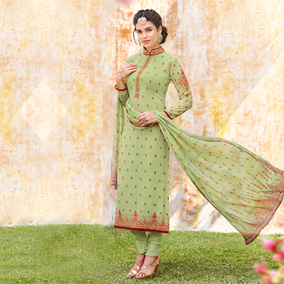 Stunning Pista Green Designer Embroidered Georgette Suit