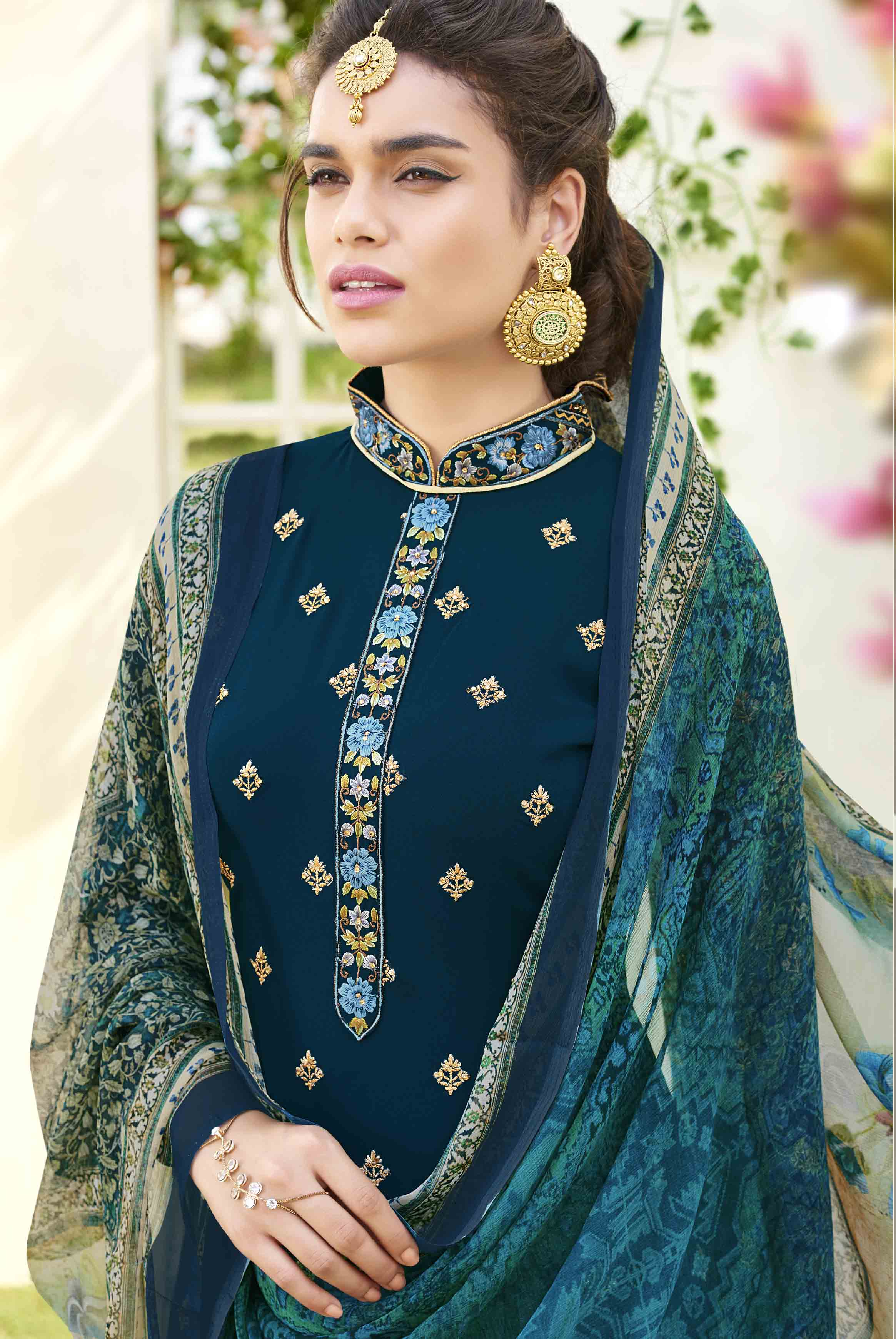 Trendy Stone Blue Designer Embroidered Georgette Suit