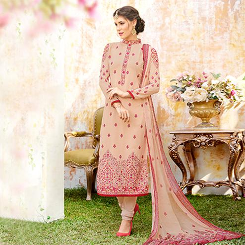 Amazing Peach Designer Embroidered Georgette Suit