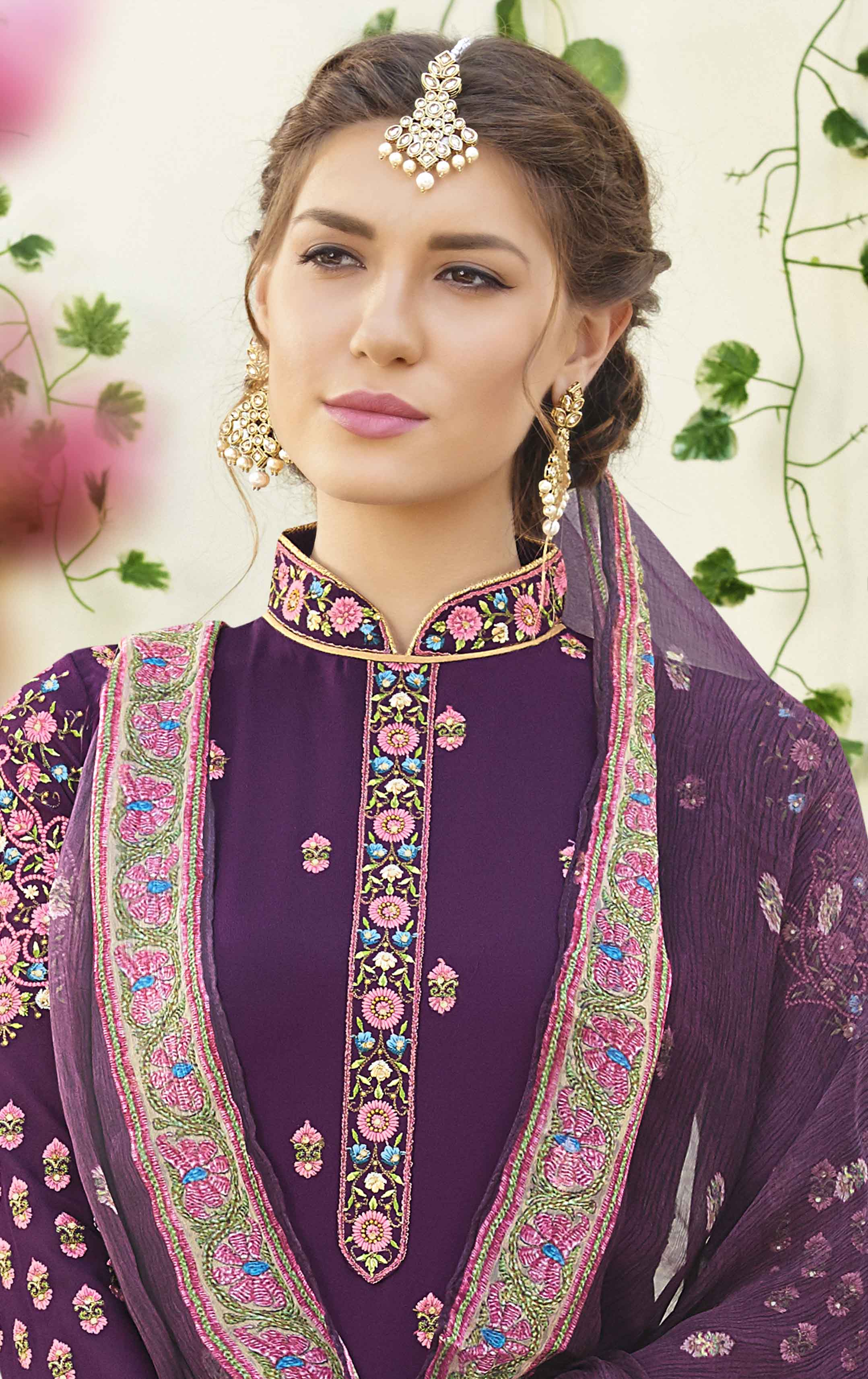 Charming Purple Designer Embroidered Georgette Suit