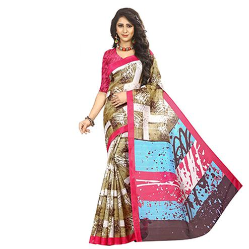 Trendy Multi Colored Printed Casual Wear Bhagalpuri Silk Saree
