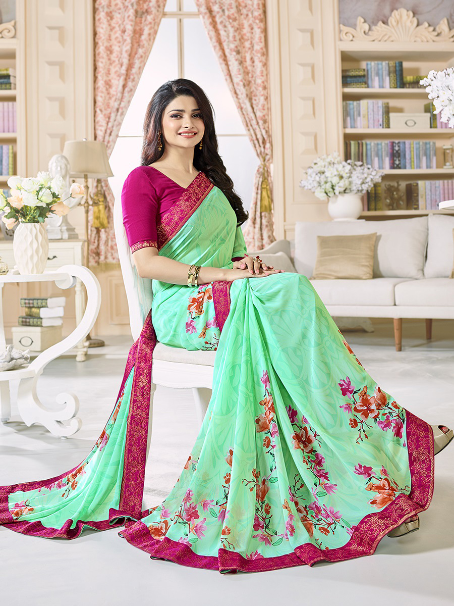 Pastel Green Digital Printed Georgette Saree