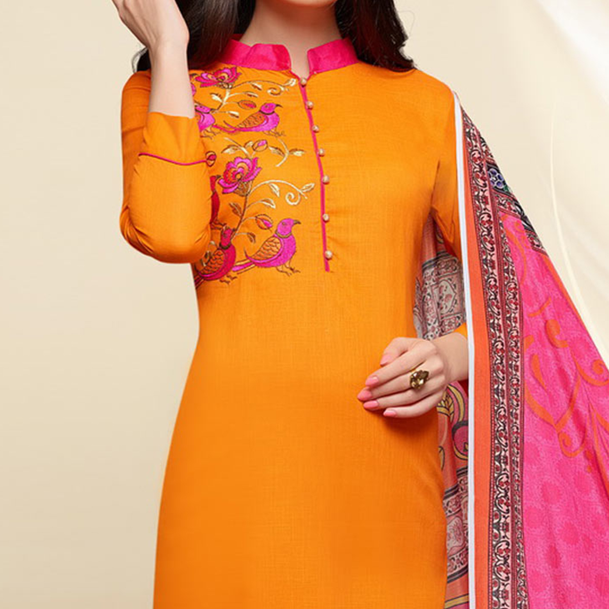 Orange - Pink Colored Embroidered Work Cotton Salwar Suit