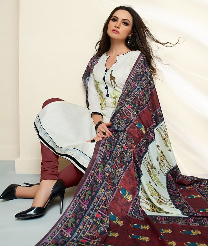 White - Brown Colored Embroidered Work Cotton Salwar Suit