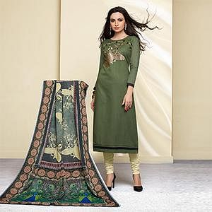 Green Colored Embroidered Work Cotton Salwar Suit