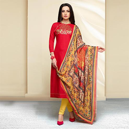 Red - Yellow Colored Embroidered Work Cotton Salwar Suit