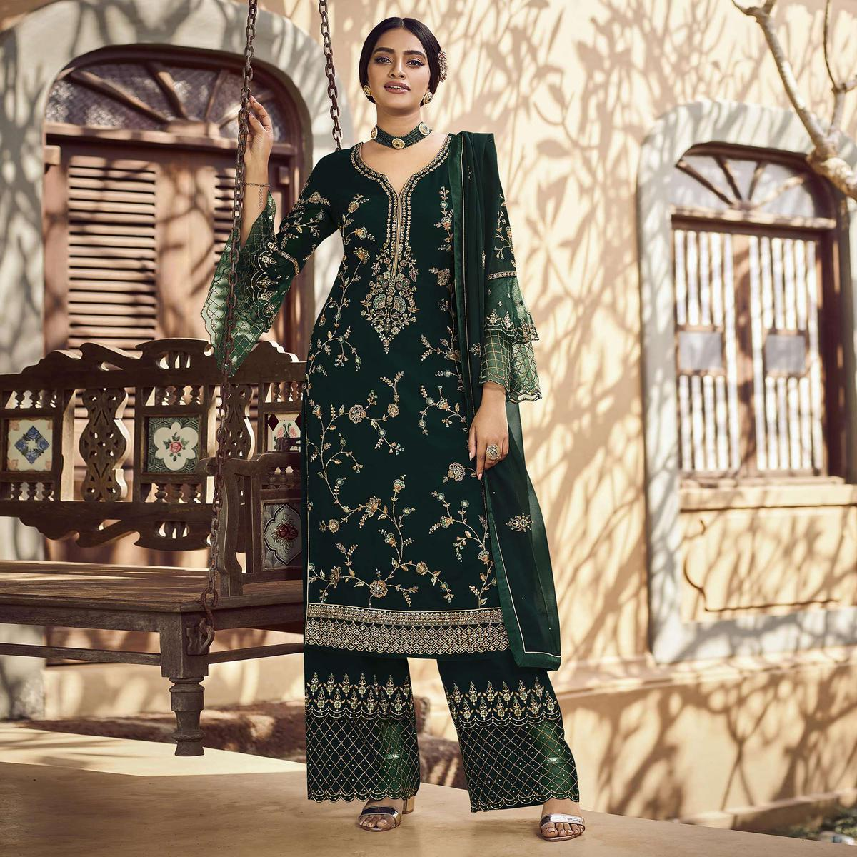 Festive Wear Green Floral Embroidery work Faux Georgette Straight Cut palazzo Suit