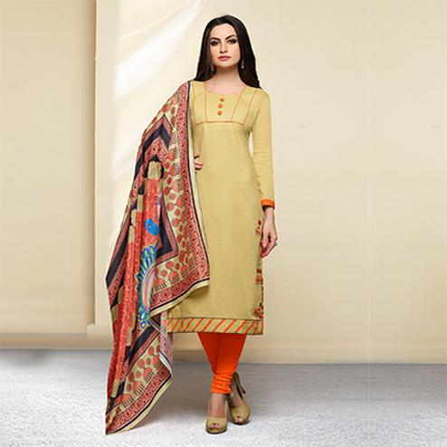 Beige - Orange Colored Embroidered Work Cotton Salwar Suit