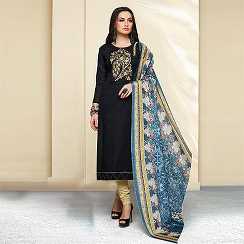 Black - Beige Colored Embroidered Work Cotton Salwar Suit