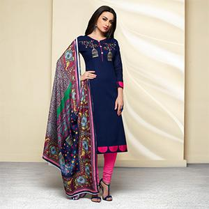 Blue - Pink Colored Embroidered Work Cotton Salwar Suit