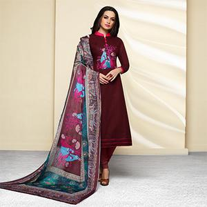 Maroon Colored Embroidered Work Cotton Salwar Suit