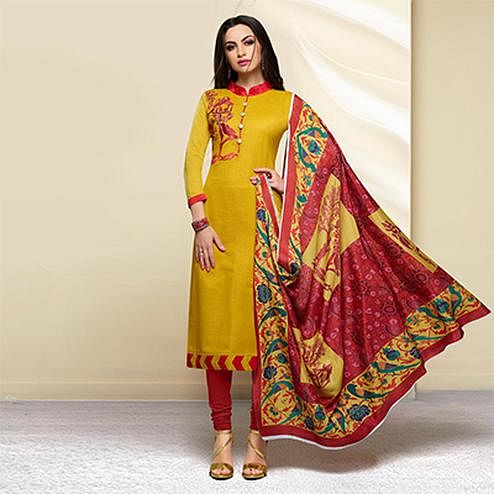 Mustard Yellow Colored Embroidered Work Cotton Salwar Suit