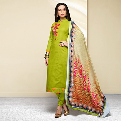 Parrot Green Colored Embroidered Work Cotton Salwar Suit