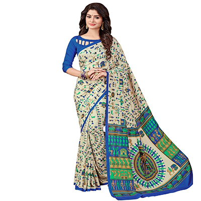 Beige - Blue Printed Casual Wear Saree
