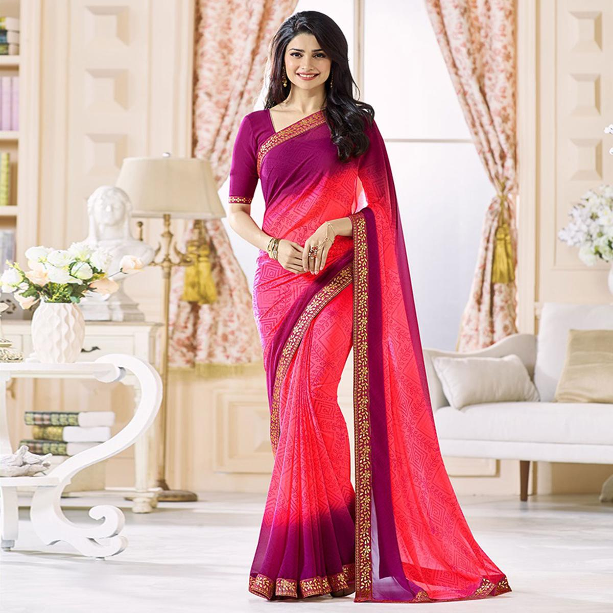 Pink - Wine Printed Saree With Floral Border