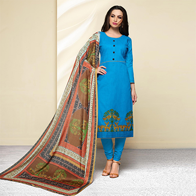 Blue Colored Embroidered Work Cotton Salwar Suit
