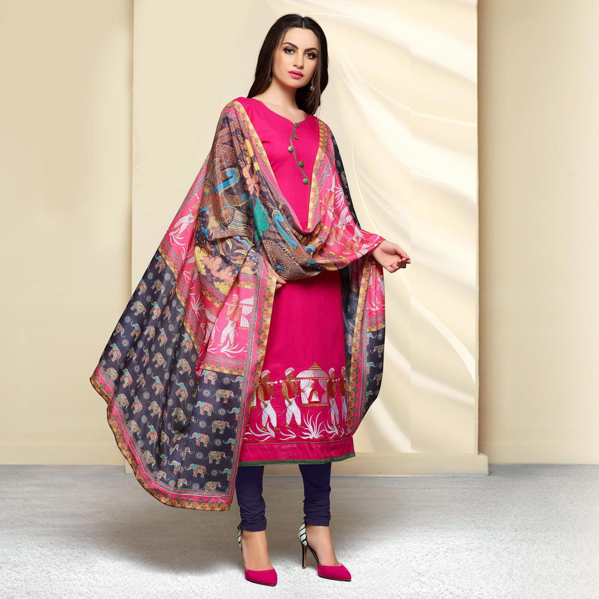 Deep Pink Colored Embroidered Work Cotton Salwar Suit