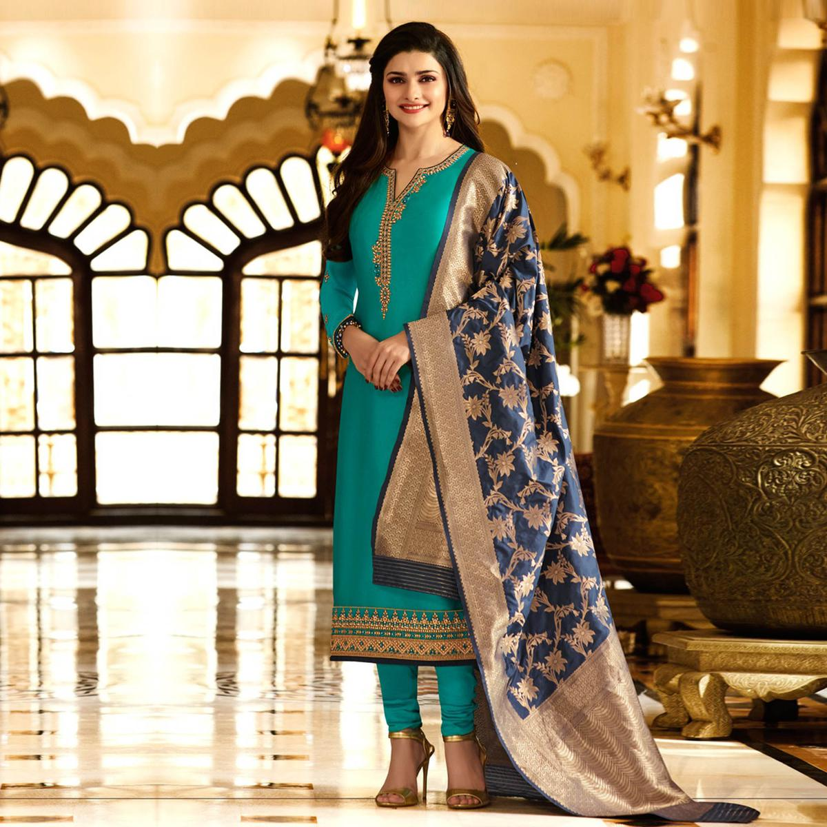 Alluring Rama Green Colored Designer Embroidered Georgette-Satin Suit