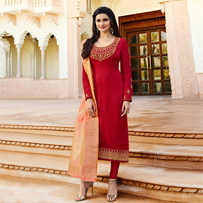 Marvellous Red Colored Designer Embroidered Georgette-Satin Suit