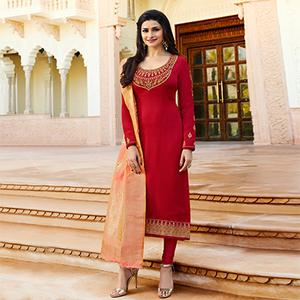 Marvellous Red Colored Colored Designer Embroidered Georgette-Satin Suit