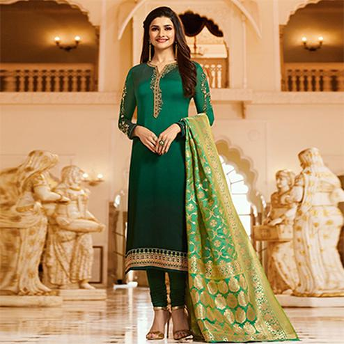 Delightful Green Colored Designer Embroidered Georgette-Satin Suit