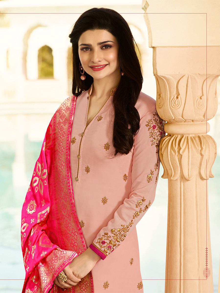 Gorgeous Peach Colored Designer Embroidered Georgette-Satin Suit
