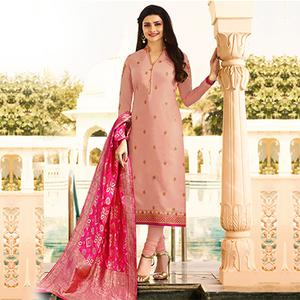 Gorgeous Peach Colored Colored Designer Embroidered Georgette-Satin Suit