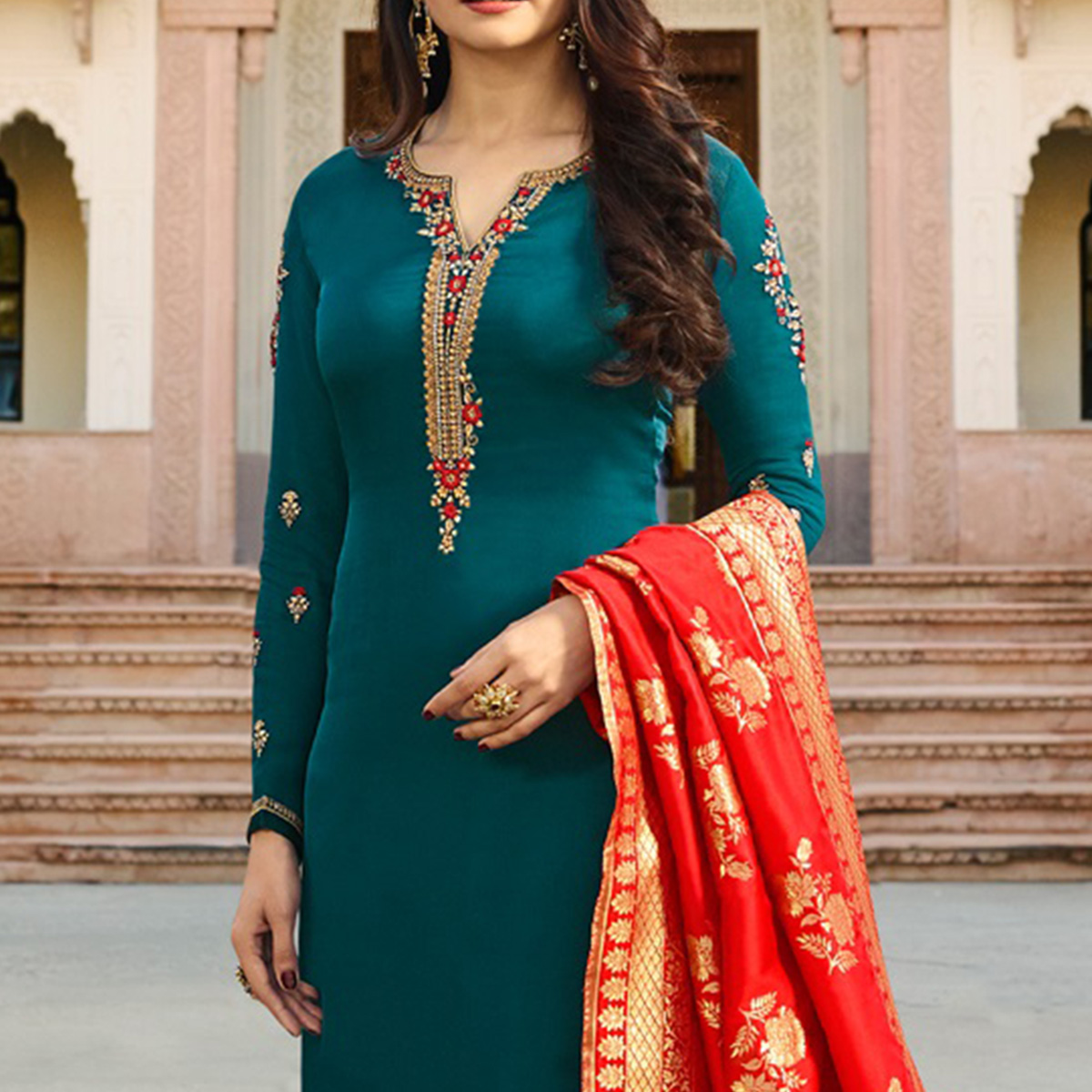 Charming Stone Blue Colored Designer Embroidered Georgette-Satin Suit
