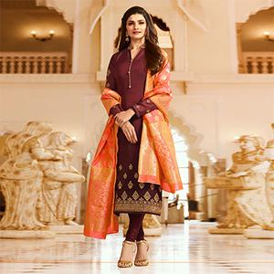 Marvellous Brown Colored Designer Embroidered Georgette-Satin Suit
