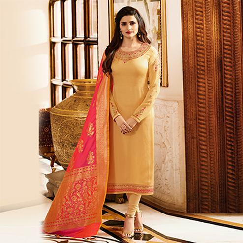 Glorious Light Yellow Colored Designer Embroidered Georgette-Satin Suit