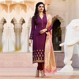 Blooming Purple Colored Designer Embroidered Georgette-Satin Suit
