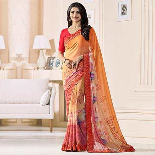 Shaded Orange Digital Printed Saree