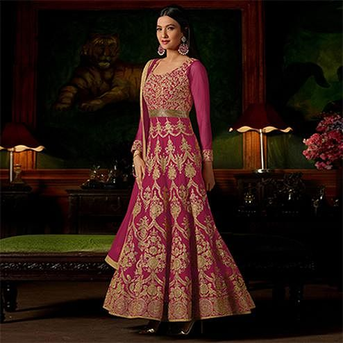 Deep Pink Colored Heavy Embroidered Work Georgette Anarkali Suit