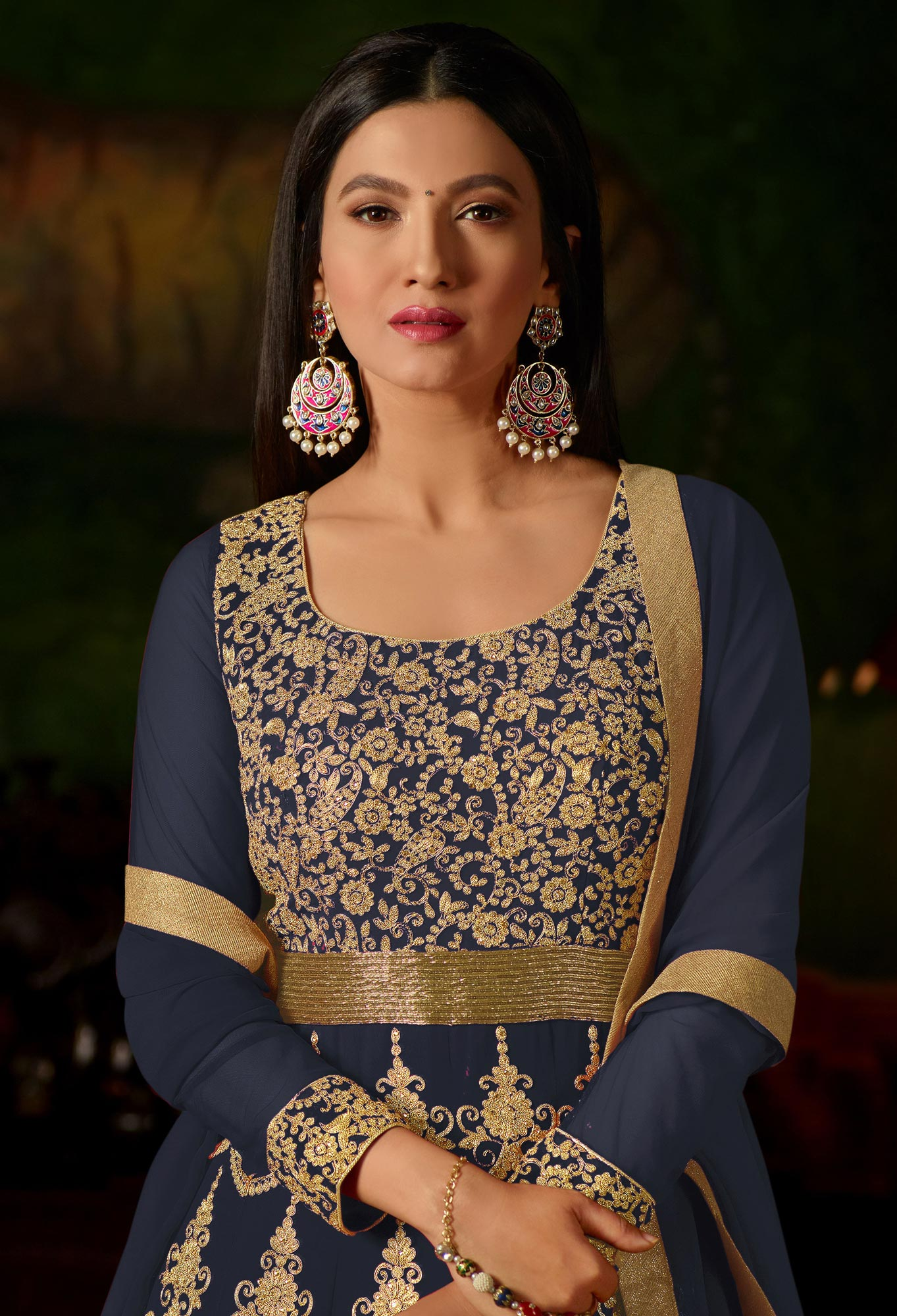 Dark Grey Colored Heavy Embroidered Work Georgette Anarkali Suit
