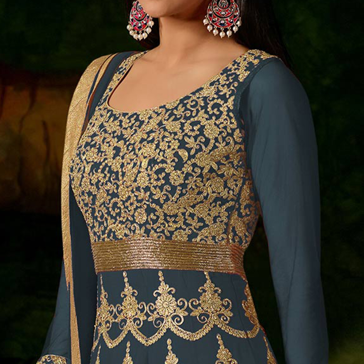 Light Grey Colored Heavy Embroidered Work Georgette Anarkali Suit