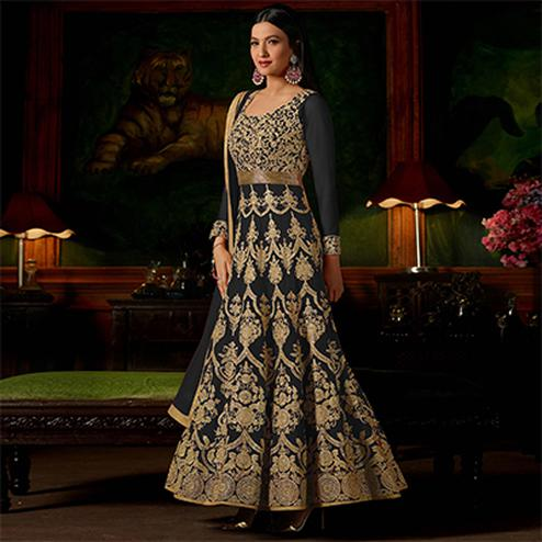 Black Colored Heavy Embroidered Work Georgette Anarkali Suit