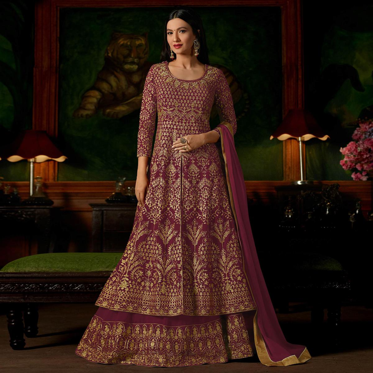 Maroon Colored Heavy Embroidered Work Georgette Lehenga Anarkali Suit