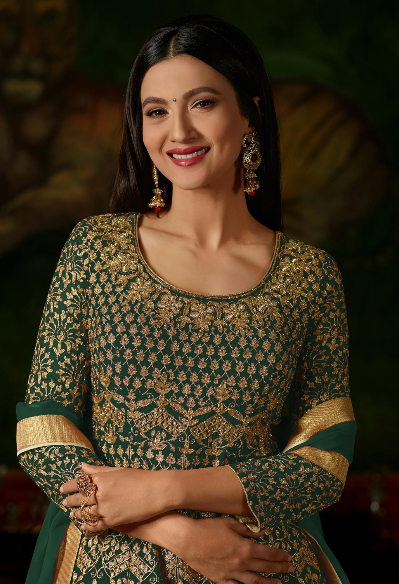 Green Colored Heavy Embroidered Work Georgette Lehenga Anarkali Suit