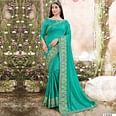 Turquoise Casual Wear Solid Vichitra Silk Saree With Fancy Border