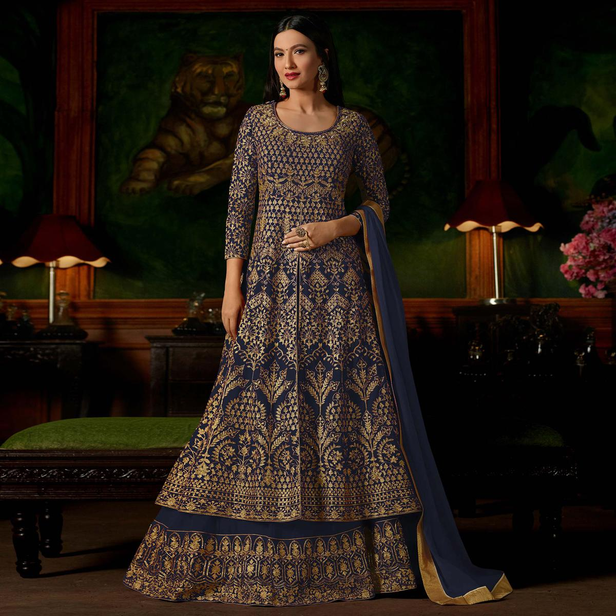 Dark Grey Colored Heavy Embroidered Work Georgette Lehenga Anarkali Suit