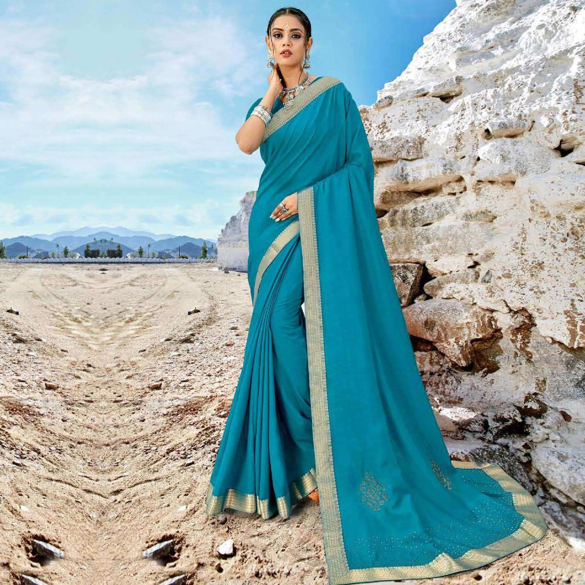 Sky Blue Casual Wear Solid And Woven Vichitra Silk Saree